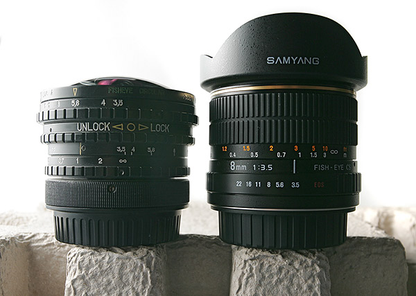 Samyang 8/3.5 fisheye (vs. Peleng 8/3.5)