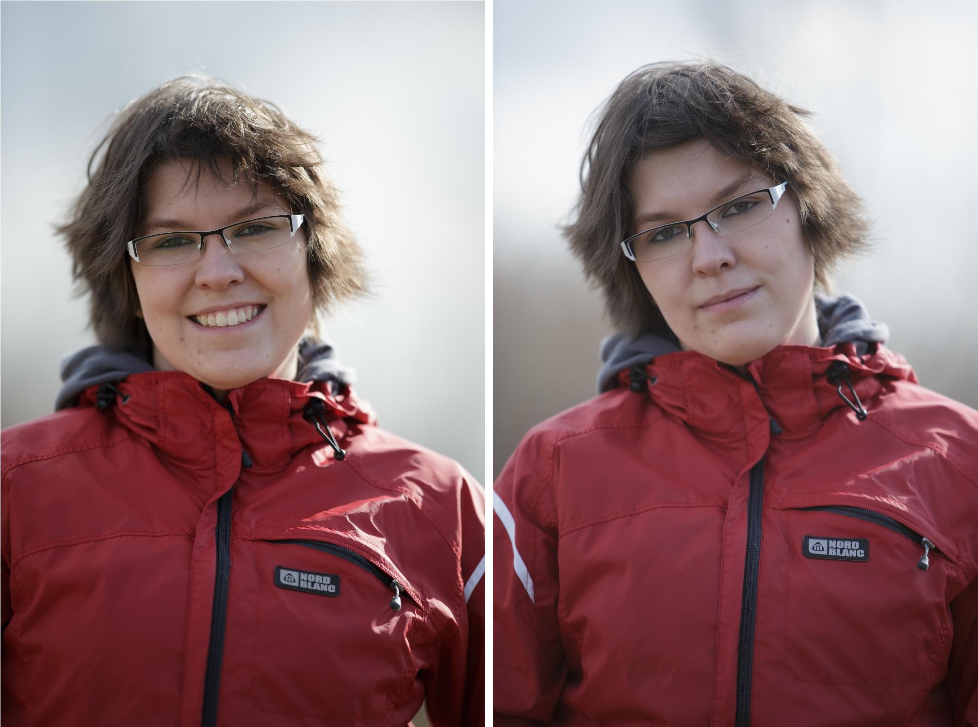Portrét, plné políčko. Vlevo 200 mm f1,8L @f1,8, vpravo 70–200 mm f2,8L IS @f2,8