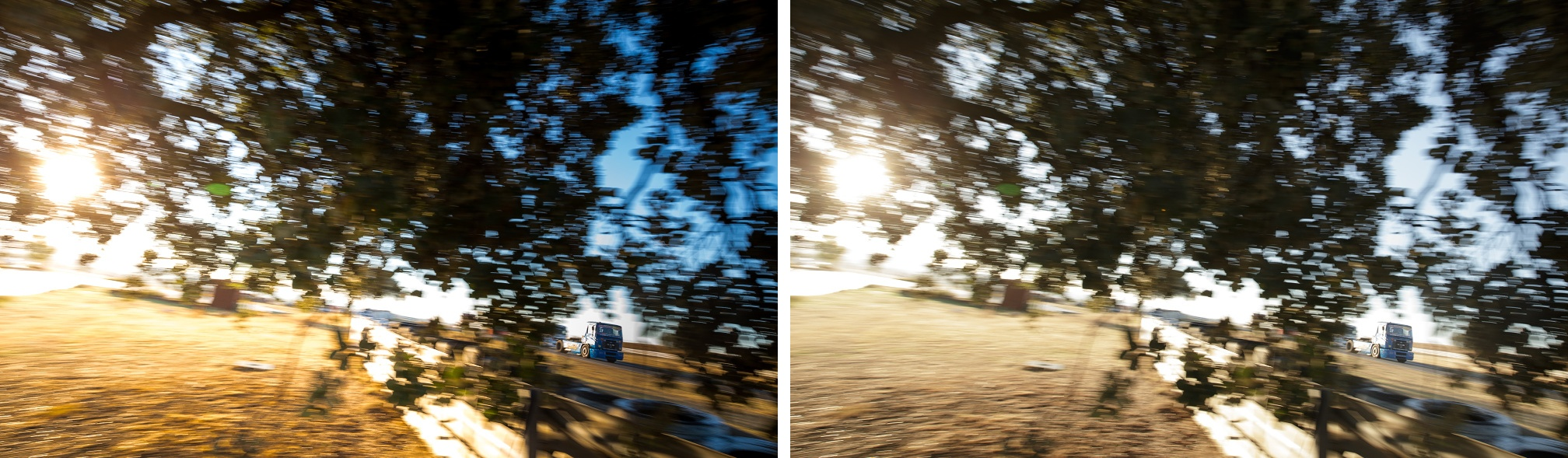 Výrazně zvýšená saturace levé části snímku, ztmavení oblohy, ztmavení a saturace modré barvy