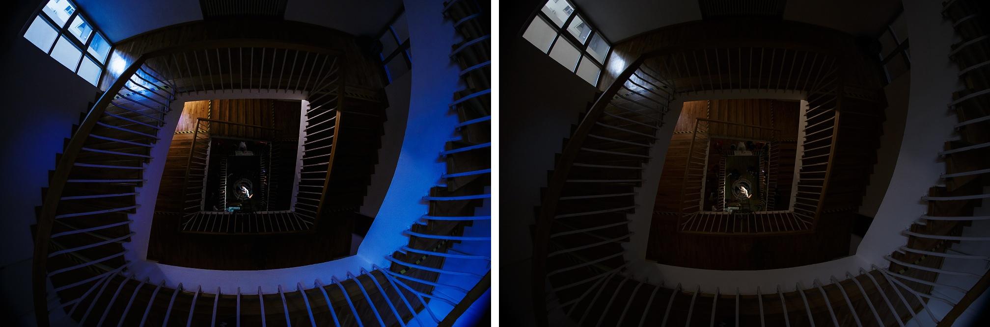 Přidání černé, kontrast, vytažení modré a purpurové, zesvětlení horní části schodiště