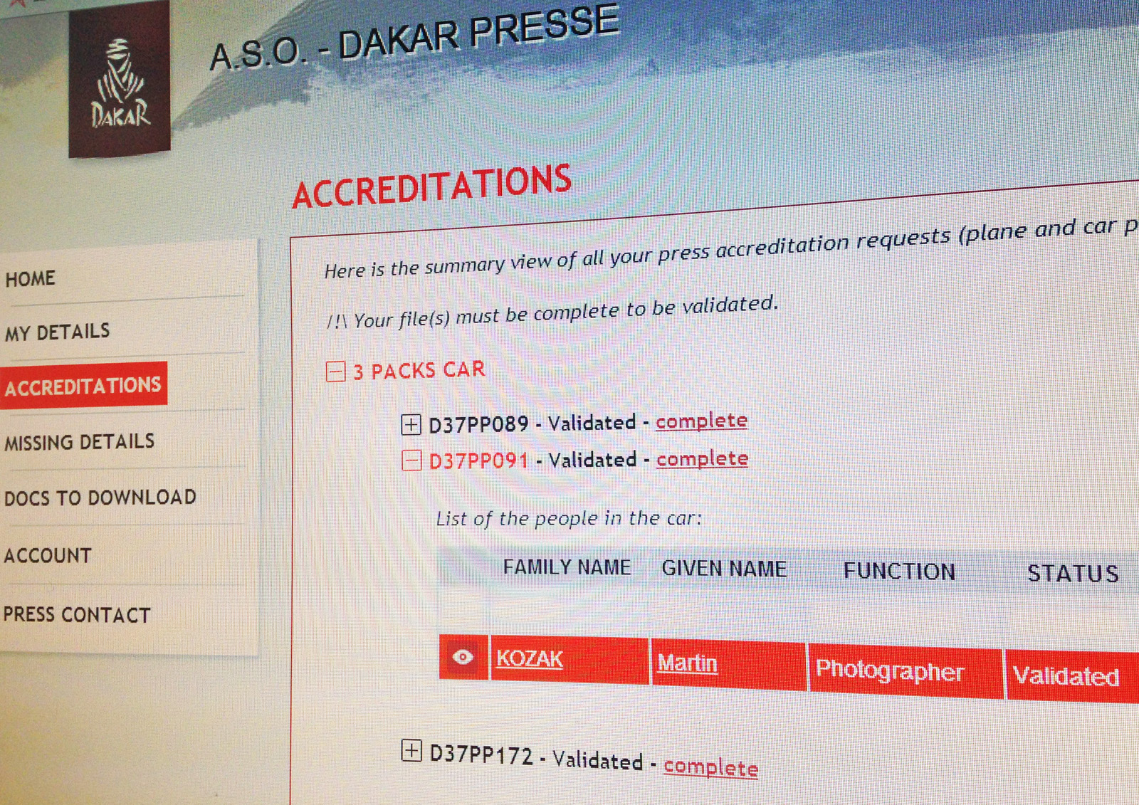 KOZAK - Dakar accreditation
