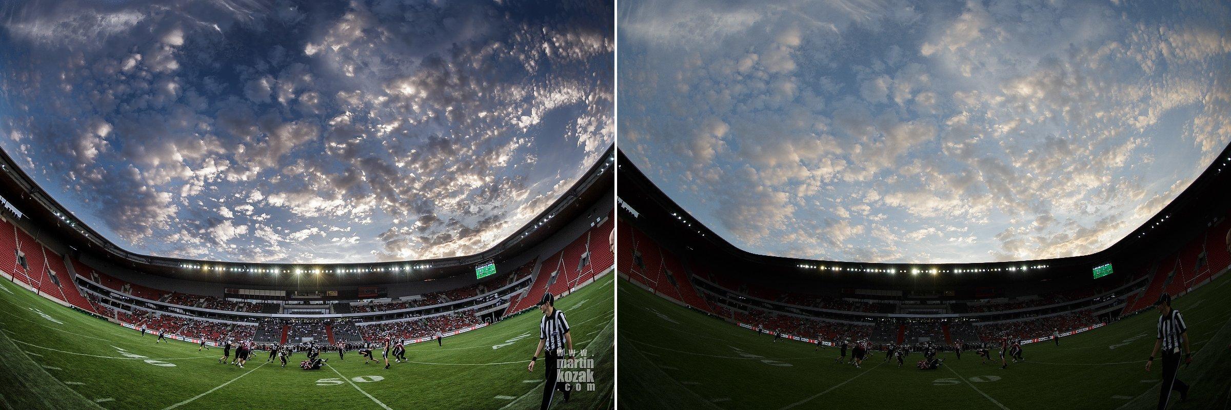 Vytažení stínů ve spodní části, ztmavení oblohy, lokální kontrast, saturace