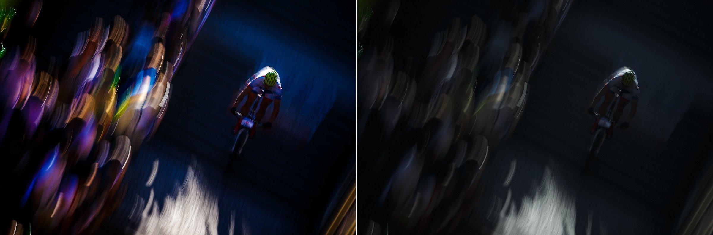 Kontrast, saturace, zesvětlení světel na divácích