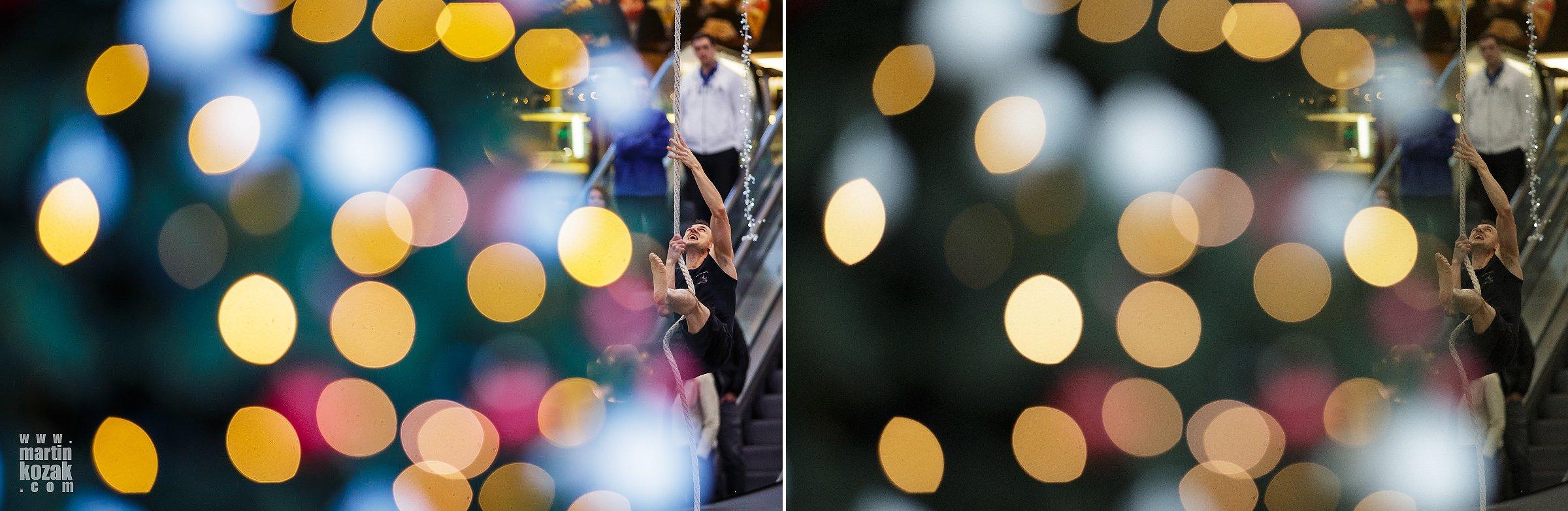 Vyvážení bílé, barevné zvýraznění bokehových kroužků na vánočním stromku v popředí