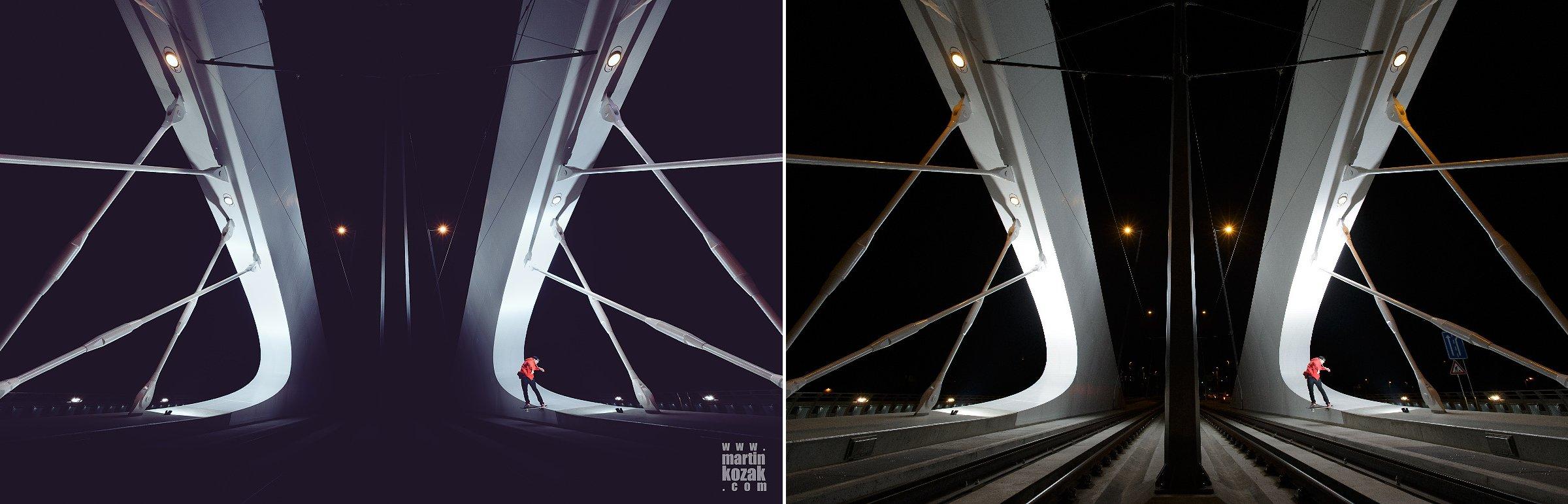 Ztmavení nepodstatných míst tak, aby vynikla konstrukce mostu, tónování