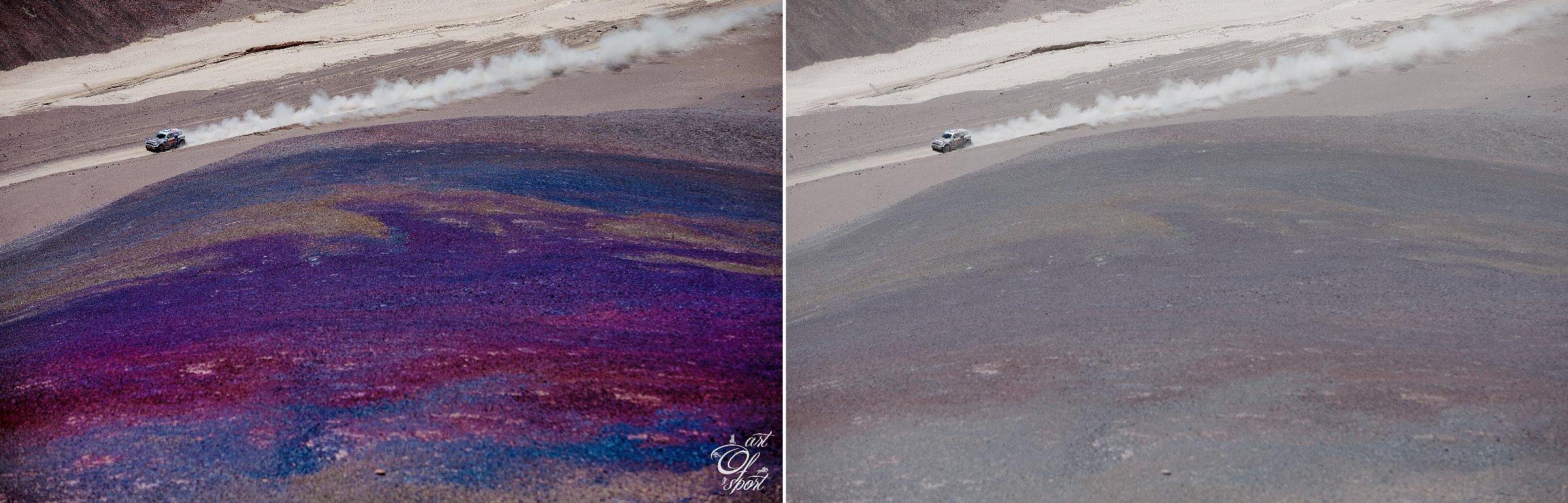 Kontrast, saturace, barevné zvýraznění duhového svahu v popředí